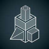 Διανυσματική αφηρημένη τρισδιάστατη γεωμετρική μορφή, polygonal αριθμός Στοκ Εικόνες
