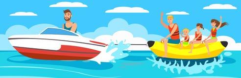 Διανυσματική βάρκα μπανανών απεικόνισης με την ομάδα απεικόνιση αποθεμάτων
