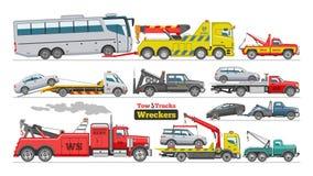 Διανυσματική βοήθεια ρυμούλκησης μεταφορών λεωφορείων οχημάτων μεταφοράς με φορτηγό αυτοκινήτων ρυμούλκησης φορτηγών ρυμούλκησης  απεικόνιση αποθεμάτων