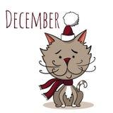 Διανυσματική γάτα κινούμενων σχεδίων για τον ημερολογιακό μήνα Δεκέμβριος Στοκ Εικόνες