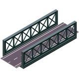 Διανυσματική γέφυρα στη isometric τρισδιάστατη προοπτική στο άσπρο υπόβαθρο, με το δρόμο ασφάλτου απεικόνιση αποθεμάτων