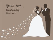 Διανυσματική γαμήλια κάρτα με τα παντρεμένα ζευγάρια Στοκ φωτογραφία με δικαίωμα ελεύθερης χρήσης