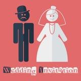 Διανυσματική γαμήλια πρόσκληση επίπεδη Στοκ Εικόνες