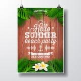 Διανυσματική γειά σου απεικόνιση ιπτάμενων κόμματος θερινών παραλιών με τις τροπικά εγκαταστάσεις και τα λουλούδια Στοκ εικόνα με δικαίωμα ελεύθερης χρήσης
