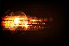 Διανυσματική γεωμετρία σε μια έννοια τεχνολογίας σε ένα σκούρο παρτοκαλί υπόβαθρο Στοκ Εικόνες