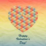 Διανυσματική γεωμετρική καρδιά για το σχέδιο ημέρας βαλεντίνων Στοκ Εικόνες