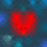 Διανυσματική γεωμετρική καρδιά μωσαϊκών για το σχέδιο ημέρας βαλεντίνων Στοκ φωτογραφία με δικαίωμα ελεύθερης χρήσης