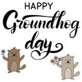 Διανυσματική γράφοντας απεικόνιση για την ημέρα grounhog απεικόνιση αποθεμάτων