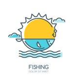 Διανυσματική γραμμική ζωηρόχρωμη απεικόνιση του ήλιου, των ψαριών στη θάλασσα, της ράβδου αλιείας και του γάντζου ελεύθερη απεικόνιση δικαιώματος
