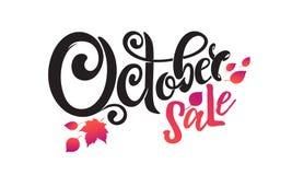 Διανυσματική γραπτή χέρι όμορφη πώληση Οκτωβρίου κειμένων εγγραφής Απομονωμένος και διακοσμημένος με τα μειωμένα φύλλα φθινοπώρου ελεύθερη απεικόνιση δικαιώματος