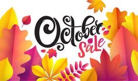 Διανυσματική γραπτή χέρι όμορφη πώληση Οκτωβρίου κειμένων εγγραφής στο υπόβαθρο φύλλων Διακοσμημένος με τα φύλλα φθινοπώρου ανθοδ διανυσματική απεικόνιση