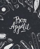 Διανυσματική γραφική αφίσα Bon Appetit με τις απεικονίσεις τροφίμων, κάλυψη επιλογών, έμβλημα Στοκ Εικόνα