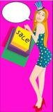 Διανυσματική γυναίκα απεικόνισης ` κόμικς που φορά το καπέλο ` αστεριών και λωρίδων Ψευδο τρισδιάστατο eps jpg ελεύθερη απεικόνιση δικαιώματος