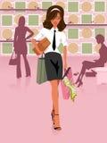 Διανυσματική γυναίκα απεικόνισης στο κατάστημα παπουτσιών Στοκ Φωτογραφία