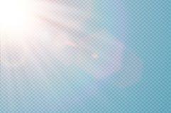 Διανυσματική διαφανής φλόγα φακών φωτός του ήλιου ειδική Αφηρημένο διαγώνιο σχέδιο ελαφριάς επίδρασης ήλιων διαφανές Απομονωμένος Στοκ Εικόνες