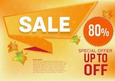 Διανυσματική ειδική προσφορά πώλησης εμβλημάτων για το αφηρημένο υπόβαθρο φύλλων φθινοπώρου Στοκ Εικόνες