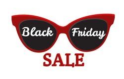 Διανυσματική εικονιδίων πώληση Παρασκευής διακριτικών μαύρη Γυαλιά ηλίου, μαύρη Παρασκευή Στοκ Φωτογραφία