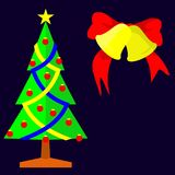 Διανυσματική εικόνα απεικόνισης διακοπών χριστουγεννιάτικων δέντρων και κουδουνιών διανυσματική απεικόνιση