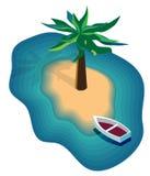 Διανυσματική εικόνα ενός νησιού στη θάλασσα, με μια βάρκα και τους φοίνικες διανυσματική απεικόνιση