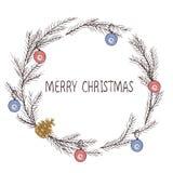 Διανυσματική εικόνα ενός στεφανιού Χριστουγέννων, ένα στεφάνι του έλατου Επιγραφή Χαρούμενα Χριστούγεννας στο κέντρο απομονωμένη  ελεύθερη απεικόνιση δικαιώματος