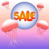 Διανυσματική εικόνα με την πώληση επιγραφής Στοκ εικόνες με δικαίωμα ελεύθερης χρήσης