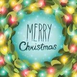 Διανυσματική εικόνα στεφανιών γιρλαντών Χριστουγέννων Στοκ Φωτογραφίες