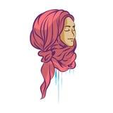 Διανυσματική εικόνα του όμορφου κοριτσιού στο hijab Πρόσωπο περιπλάνησης Στοκ φωτογραφία με δικαίωμα ελεύθερης χρήσης
