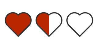 Διανυσματική εικόνα τριών καρδιών σε μια σειρά - που γεμίζουν εντελώς, το μισό της αφθονίας και χωρίς έκχυση Εύκολα περίληψη απομ διανυσματική απεικόνιση