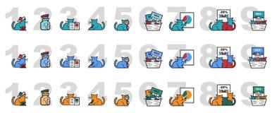 Διανυσματική εικόνα των γατών για το μάρκετινγκ και τις παρουσιάσεις απεικόνιση αποθεμάτων
