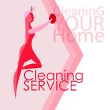 Διανυσματική εικόνα των γυναικών Καθαρότητα, καθαρισμός Απεικόνιση αποθεμάτων