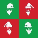 Διανυσματική εικόνα των καπέλων santa και των γενειάδων και eyeglasses Στοκ Εικόνες