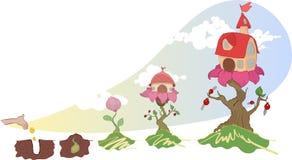 Διανυσματική εικόνα των σπιτιών, που αυξάνεται σε ένα λουλούδι Στοκ Εικόνα