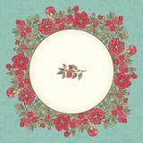 Διανυσματική εκλεκτής ποιότητας ευχετήρια κάρτα με μια κόκκινη ανθοδέσμη λουλουδιών doodle και πλαίσιο για το κείμενο στο αναδρομ Στοκ Φωτογραφία