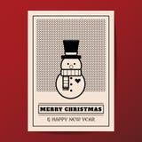 Διανυσματική ελάχιστη ευχετήρια κάρτα ύφους Χαρούμενα Χριστούγεννας Στοκ φωτογραφία με δικαίωμα ελεύθερης χρήσης