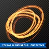 Διανυσματική ελαφριά επίδραση του χρυσού στροβίλου κύκλων γραμμών Καμμένος ελαφρύ ίχνος φλογών πυρκαγιάς Στοκ Φωτογραφία