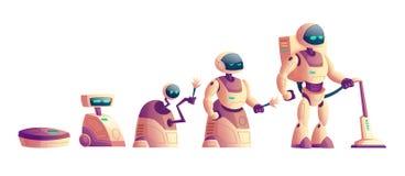 Διανυσματική εξέλιξη των ρομπότ, έννοια ηλεκτρικών σκουπών απεικόνιση αποθεμάτων