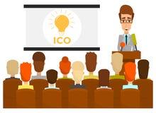 Διανυσματική επίπεδη απεικόνιση έννοιας επιχειρησιακής παρουσίασης Ico διανυσματική απεικόνιση