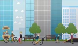 Διανυσματική επίπεδη απεικόνιση έννοιας οδών πόλεων Στοκ φωτογραφία με δικαίωμα ελεύθερης χρήσης