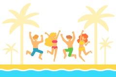 Διανυσματική επίπεδη απεικόνιση με τους ανθρώπους που πηδούν σε μια sundy παραλία το καλοκαίρι Στοκ εικόνες με δικαίωμα ελεύθερης χρήσης