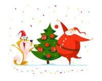 Διανυσματική επίπεδη απεικόνιση Χαρούμενα Χριστούγεννας με το ευτυχές santa και σκυλί στο καπέλο santa που διακοσμεί το νέο δέντρ Στοκ Εικόνα