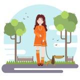 Διανυσματική επίπεδη απεικόνιση ύφους Περίπατος νέων κοριτσιών στο πάρκο με την λίγο σκυλί στοκ εικόνες με δικαίωμα ελεύθερης χρήσης
