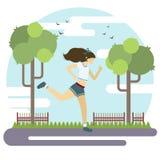 Διανυσματική επίπεδη απεικόνιση ύφους τρέχοντας νεολαίες πάρκω Αφίσα αθλητικού τρόπου ζωής στοκ φωτογραφίες