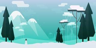 Διανυσματική επίπεδη απεικόνιση ύφους Χειμερινό τοπίο με τα βουνά και το χιονάνθρωπο δέντρων στοκ εικόνα