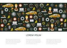 Διανυσματική επίπεδη αφίσα σχεδίων εικονιδίων υπηρεσιών αυτοκινήτων Στοκ εικόνες με δικαίωμα ελεύθερης χρήσης