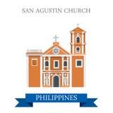 Διανυσματική επίπεδη έλξη της Μανίλα Φιλιππίνες εκκλησιών SAN Agustin διανυσματική απεικόνιση