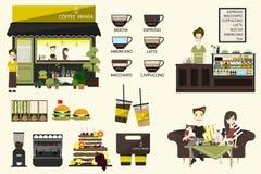Διανυσματική επίπεδη απεικόνιση καφετεριών πληροφοριών γραφική με το barista διάνυσμα διανυσματική απεικόνιση
