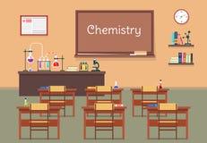 Διανυσματική επίπεδη απεικόνιση της χημείας lassroom στο σχολείο, πανεπιστήμιο, ίδρυμα, κολλέγιο Γραφεία με τους κυβερνήτες βιβλί απεικόνιση αποθεμάτων
