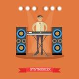 Διανυσματική επίπεδη απεικόνιση του νέου συνθέτη παιχνιδιού μουσικών ελεύθερη απεικόνιση δικαιώματος