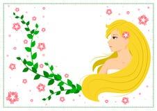 Διανυσματική επίπεδη απεικόνιση του χαμογελώντας ξανθού κοριτσιού με τα πράσινα φύλλα και τα ρόδινα λουλούδια Στοκ φωτογραφία με δικαίωμα ελεύθερης χρήσης