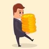 Διανυσματική επίπεδη απεικόνιση Χαρακτήρας διευθυντών με το χρυσό νόμισμα διαθέσιμο να χαμογελάσει και να κρατήσει μέσα ο αεροπόρ Στοκ Εικόνες